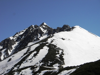 稜線から西穂.JPG